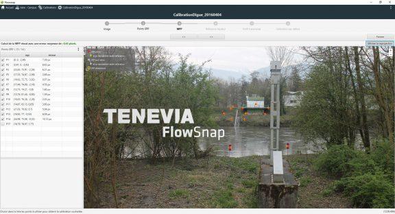 Ecran de génération d'une matrice de projection physique dans le logiciel FlowSnap