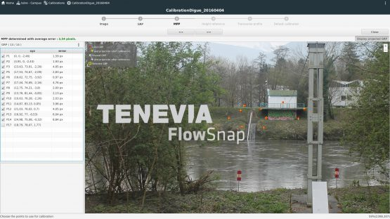 Screen for generation of physical projection matrix in TENEVIA FlowSnap software