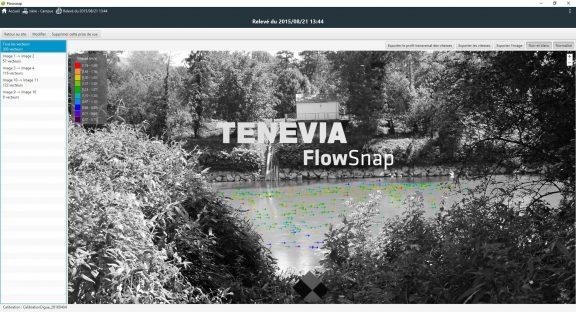 Gradient de mesure des vitesses d'écoulement en surface avec le logiciel TENEVIA FlowSnap