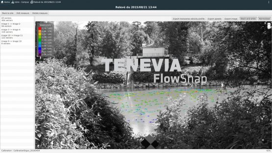 Results for surface stream gauging measurements with TENEVIA FlowSnap software