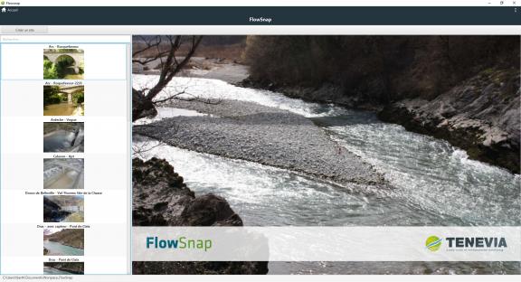 Ecran d'accueil du logiciel de jaugeage par analyse d'images FlowSnap