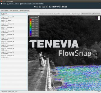 TENEVIA FlowSnap screen for Surface stream gauging measurements from smartphone video